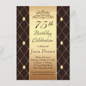 Gold diamond pattern on brown 75th Birthday Party Invitation