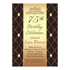 Gold diamond pattern on brown 75th Birthday Party Invitations