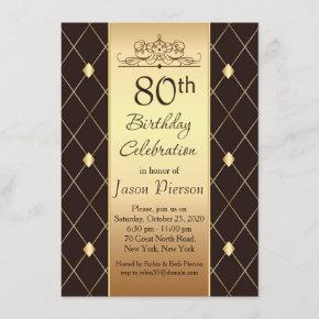 Gold diamond pattern on brown 80th Birthday Party Invitation