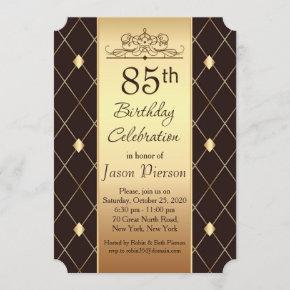Gold diamond pattern on brown 85th Birthday Party Invitation