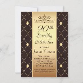 Gold diamond pattern on brown 90th Birthday Party Invitation