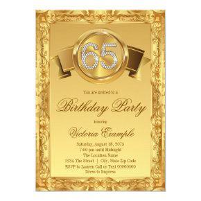 Gold Diamond Swirl Fancy 65th Birthday Invitations
