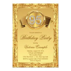 Gold Diamond Swirl Womans 95th Birthday Invitation