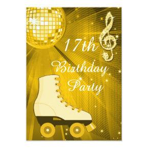 Gold Disco Ball and Roller Skates 17th Birthday Invitations