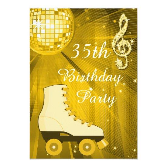 Gold Disco Ball And Roller Skates 35th Birthday Invitations