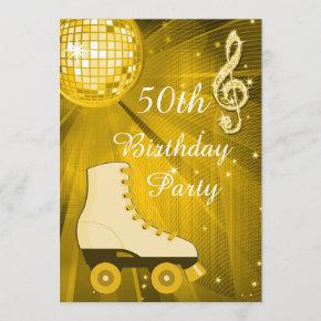 Gold Disco Ball and Roller Skates 50th Birthday Invitation