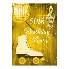 Gold Disco Ball and Roller Skates 50th Birthday Invitation