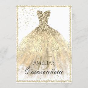 Gold Dress Sparkle 15th Quinceanera Invitation