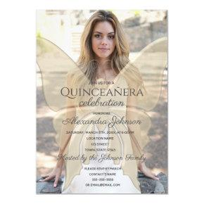 Gold Elegant Butterfly Quinceanera Photo Magnetic Invitation