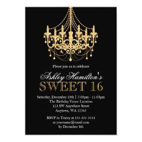 Gold Faux Glitter Chandelier Sweet 16 Invitations