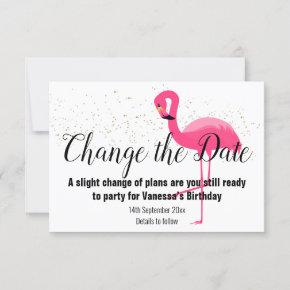 GOLD FLAMINGO PINK CHANGE THE DATE White RSVP Card