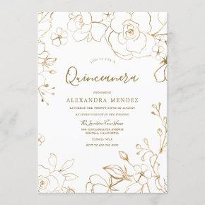 Gold Floral Elegant White Modern Quinceanera Party Invitation