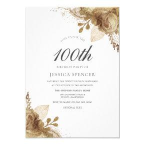 Gold Flowers Womans Mens 100th Birthday Invite