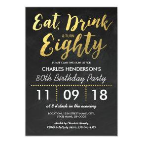 Gold Foil Chalkboard Eighty Birthday Party | 80TH Invitations