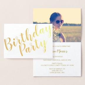 Gold Foil Modern Birthday Party Invitation Photo