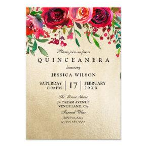 Gold Foil Pink & Red Rose Quinceanera Invitation