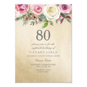 Gold Foil White Pink Rose 80th Birthday Invite