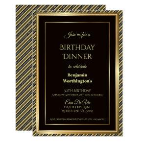 Gold Frame Striped 30th Birthday Dinner Invitation