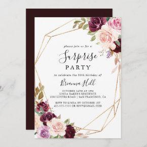 Gold Geometric Rustic Floral Surprise Party Invitation