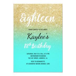 Gold glitter aqua ocean elegant chic 18th Birthday Invitation