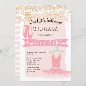 Gold glitter confetti ballerina tutu 1st birthday invitation