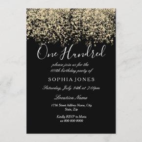 Gold Glitter Confetti Black 100th birthday party Invitation