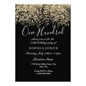 Gold Glitter Confetti Black 100th birthday party Invitations
