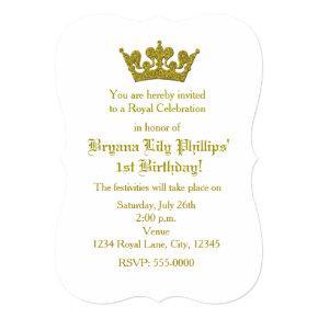 Gold Glitter Crown Princess Birthday Invitations