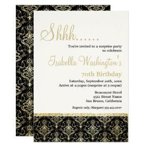 Gold Glitter Damask 70th Surprise Birthday Party Card