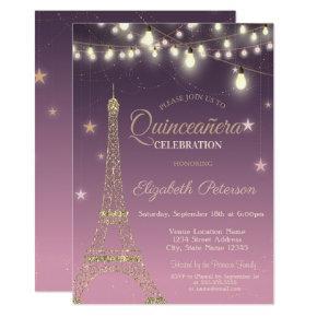 Gold Glitter Eiffel Tower,Burgundy Quinceañera Invitation