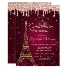Gold Glitter Eiffel Tower Tiara Drips Quinceañera Invitation