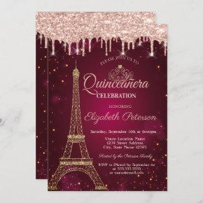 Gold Glitter Eiffel Tower Tiara Drips Quinceañera Invitation