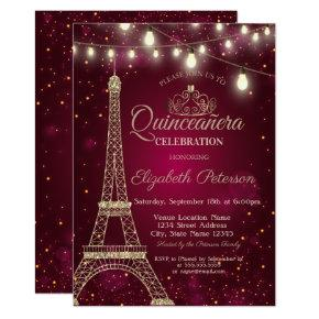 Gold Glitter Eiffel Tower,Tiara Red Quinceañera Invitation