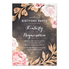 Country birthday invitations candied clouds gold glitter floral rustic country birthday party invitation filmwisefo