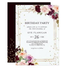 Gold Glitter Geometric Floral 40th Birthday Party Invitation