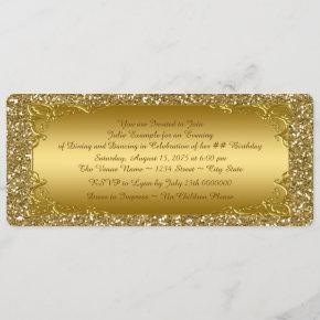 Gold Glitter Golden Ticket Party Invitation