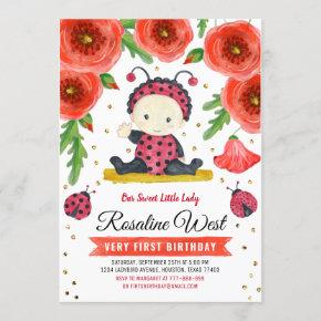 Gold Glitter I Ladybug Watercolour First Birthday Invitation