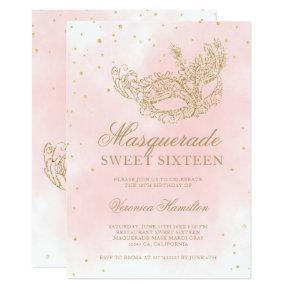 gold glitter pink masquerade mask Sweet 16 Invitation