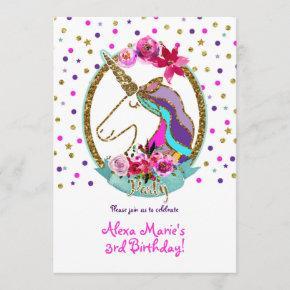 Gold Glitter Polka Dots Unicorn Birthday Party Invitation