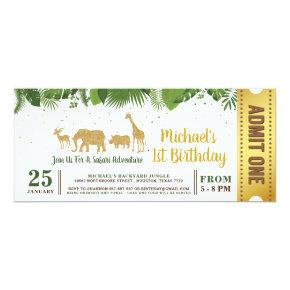 Gold Glitter Safari Adventure Ticket Pass Invitation