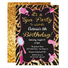 Gold glitter Spa Birthday party