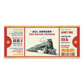 Gold Glitter Train Ticket Birthday Boarding Pass Invitation