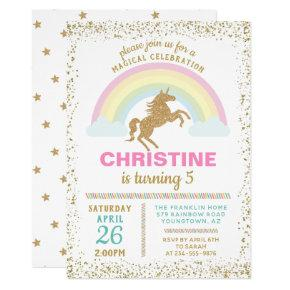 Gold Glitter Unicorn Rainbow Birthday Invitation