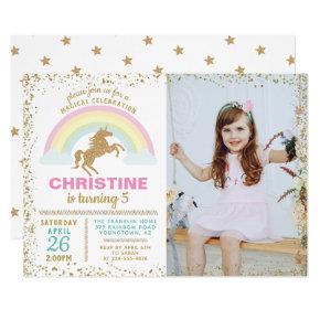 Gold Glitter Unicorn Rainbow Birthday Photo Invitation