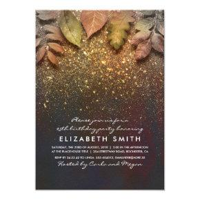 Gold Glitter Vintage Fall Leaves Birthday Party Card