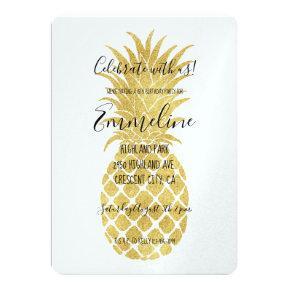 Gold Glitzy Pineapples Birthday Card
