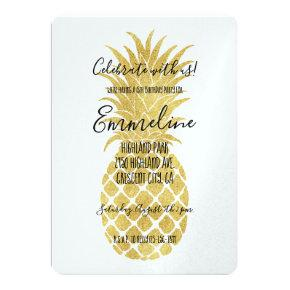 Gold Glitzy Pineapples Birthday Invitations