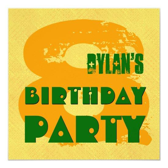 GOLD GREEN 8th Birthday Party 8 Year Old V11K Invitations