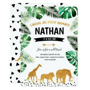 Gold Jungle Invitation First Birthday Wild One