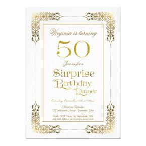 Gold Lace Surprise 50th Birthday Dinner Party Invitations